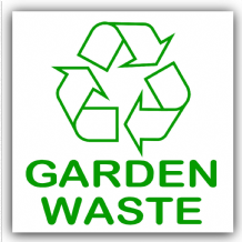 1 x Garden Waste Recycling Self Adhesive Sticker-Recycle Logo Bin Sign-Environment Label